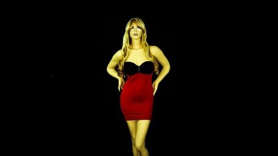 New Exotic Dancewear Stripper Red/Black Lycra/spandex Short Dress.