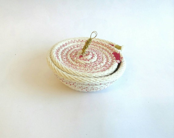 Mini basket rope of cotton with pink details - silver