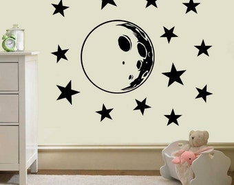 Moon And Stars Pack Vinyl Stickers   Wall Decal , Wall Sticker Wall  Decoration , Vinyl Part 94