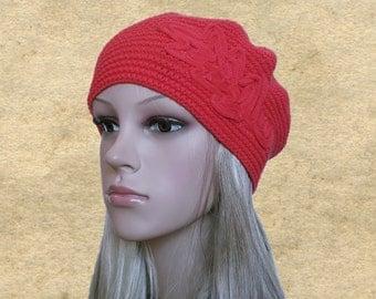 Slouchy beret hats, Knit womens hats, Women's red beret, Coral knit beret, Wool beret lady, Knitted wool hats, Spring berets hats