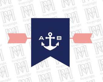 Nautical Flag and Anchor Wedding Monogram - Wedding Logo - Wedding Crest - Printable Monogram