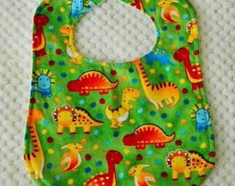 Dinosaur Patterned Baby Bib, Dinosaur Bib, Baby Bib, Green Baby Bib, Green Dinosaur Bib, Patterned Baby Bib