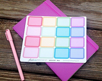 Half Box Planner Stickers,  BASICS, Erin Condren, Happy Planner, Blank Labels, Blank Boxes, Rounded Rectangles, 6 Color Choices