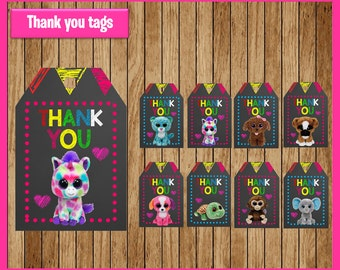 Beanie Boo Chalkboard thank you tags instant download, Printable Beanie Boo thank you tags, Beanie Boo tags