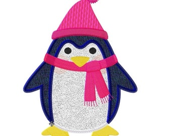 Embroidery design manchot penguin applique