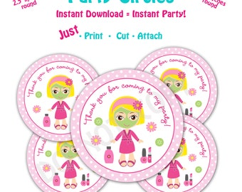 Spa Birthday Party Favor Tags -- Instant Download -  Printable  Spa Party Circles -- Blonde Hair