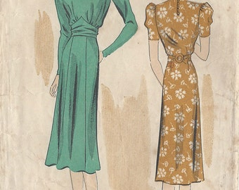 "1930s Vintage Sewing Pattern B40"" DRESS (R723) By Du Barry 2141B"