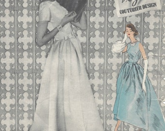 "1957 Vintage VOGUE Sewing Pattern DRESS B36"" (R518) Vogue 990"