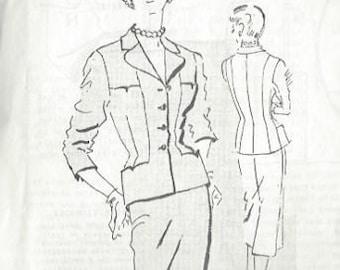 "1957 Vintage Sewing Pattern B36 1/2"" SUIT-SKIRT & JACKET (R102) By Philip Mangon Spadea 1331"