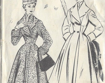 "1950s Vintage Sewing Pattern COAT B36"" (R309)  Style 863"