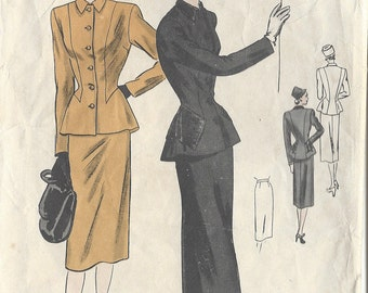 "1940s Vintage VOGUE Sewing Pattern B32"" Jacket/Blouse - Skirt  (R437) Vogue 5903"
