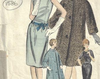 1960 Vintage VOGUE Sewing Pattern B34 Dress, Coat & Scarf (1586)  Vogue 1032