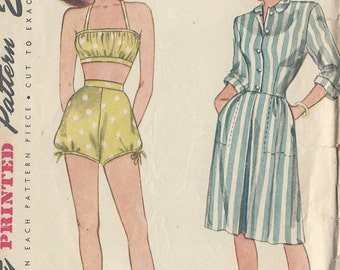 "1945 Vintage Sewing Pattern B32"" Skirt, Jacket, Shorts & Bra (R727) Simplicity 1634"