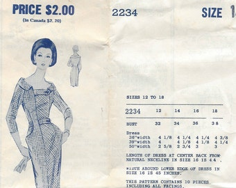 """1950s Vintage Sewing Pattern DRESS B34"""" (R306) by 'MODES ROYALE' 2234"""