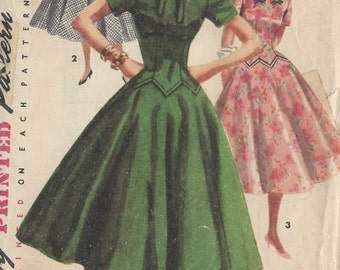 "1955 Vintage Sewing Pattern B29"" DRESS (R240) Simplicity 1409"