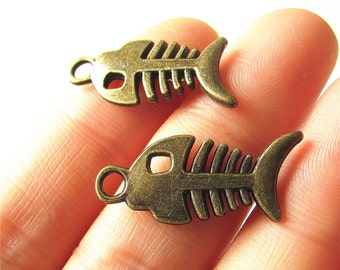 Fishbone Charm Pendant Antique Brass Drop Handmade Jewelry Finding 12x28mm 3pcs
