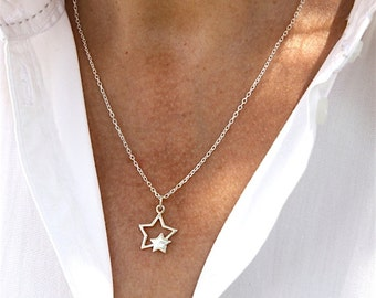 Necklace solid silver stars 925 on chain