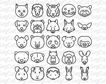 Animals Icons Svg, Animals Design Silhouette, Cute animals, Cutting file, Animals Svg, Cricut Files Silhouette, vinyl, clipart, svg files