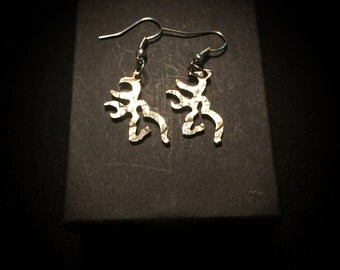 Buck deer earrings hand cut coin