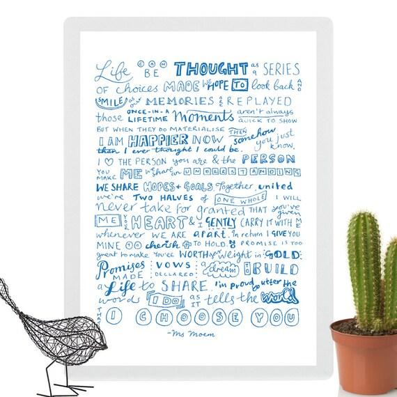 Custom Poem Print Printable I Choose You Wedding Poem