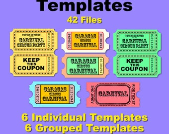 Tickets Templates - 42 Files svg psd eps ai 300 dpi individual and grupped templates