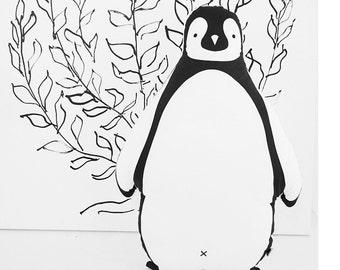 Cushion penguin shaped design, throw pillow, nursery, baby, plushie, bedroom decoration, stocking filler