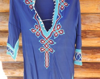 Vintage Glenn Mark Blue Tunic 3/4 Length Sleeve Women size Small