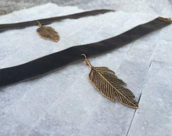 Gold Leaf Choker ~ Velvet Choker ~ Charm Choker ~ Charm Necklace ~