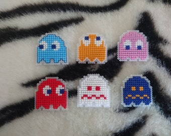 Cross Stitch Pac-Man Ghost Badges