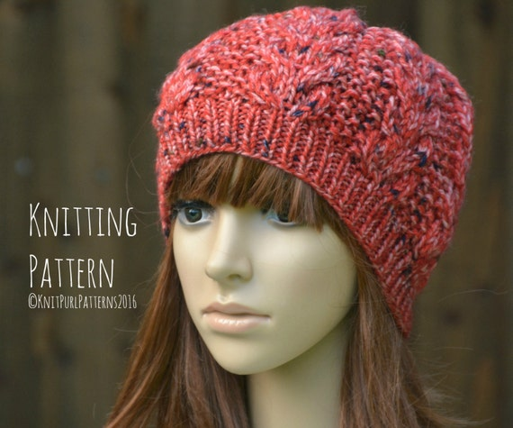 Women s Beanie Knitting Pattern : Womens Beanie Cable Hat Knitting Pattern PDF Instant ...