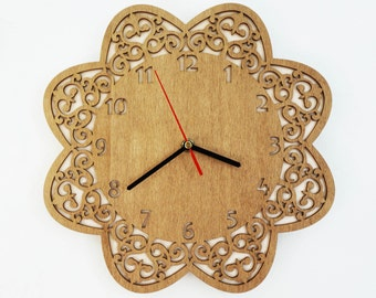 Large Wall Clock, Wooden Clock, Unique Wall Clock, Rustic Wall Clock, Modern Wall Clock, Silent Wall Clock, Home Decor, Wood Clock Flower