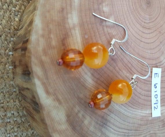 Amber Tone Stone Earrings / Amber Tone Earrings / Beveled Cut Earrings / Dangle Earrings / Hippie Earrings / Boho Jewelry /E61092