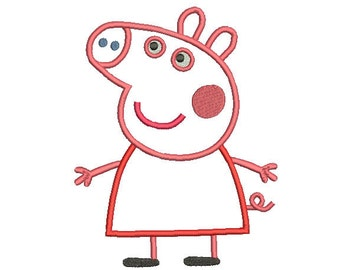 4 sizes Peppa Pig Applique Design, Peppa Pig Embroidery Design, Machine Embroidery Pattern, Instant Download