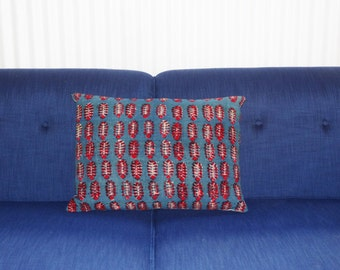 Vintage Indian Hand Stamped Pillow