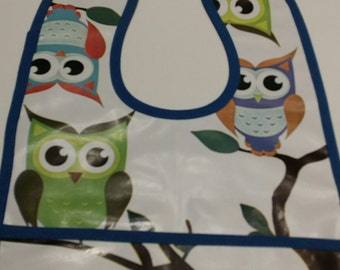 Blue OWL print baby bib