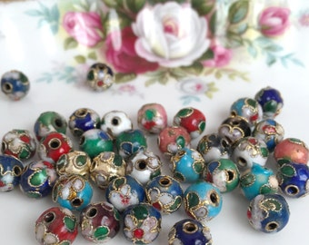 Cloissonne Beads 8mm | Flower Beads | Vintage Style Beads | Colorful Mix Beads | Cloissonne Style | 8mm Beads | Ornate Beads | 12 Pieces