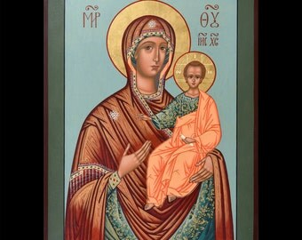 "The Virgin of Smolensk. Icon Russian orthodox. Icon handpainted on wooden panel 11,8""х16,3""х1,2"""