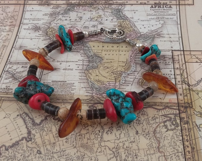 Native American Amber Turquoise Coral and horn bead bracelet