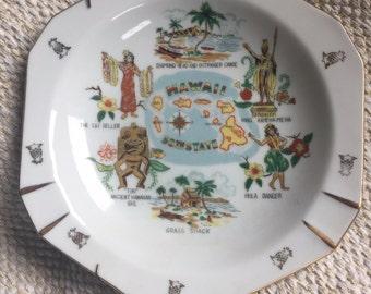 Vintage Hawaiiana Collector's Souvenir Plate Tiki Hula Hawaiian Kitsch