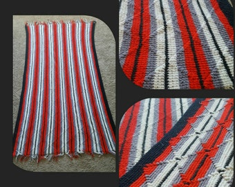 Red,Black and White Striped Crochet Blanket