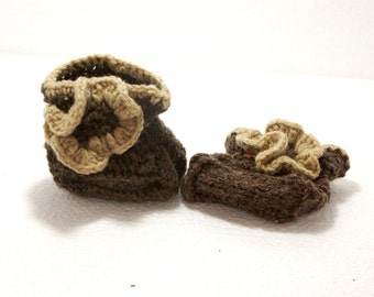 """Knit Baby Booties: """"BROWN BABY BOOTIES"""" Knitted Baby Shoes , Newborn Shoes Girl , Baby Booties , Baby Shower Gift crochet baby shoes A101"""