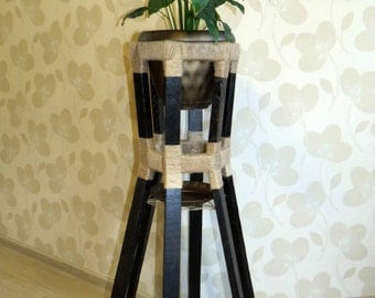 Flower Plant Pot Wooden Hexagon Stand