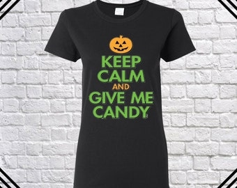 keep calm and give me candy t shirt happy halloween shirt halloween costumes halloween shirts ladies - Halloween Shirts For Ladies