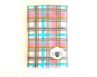 Pink Plaid Swaddle Blanket / Baby Shower Gift / Baby Girl Gift / Newborn Swaddle Blanket / Pink and Blue Receiving Blanket