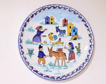 Ceramic plate wall (decorative ceramic plate) hand-painted Vietri dolls 30 cm diameter decoration