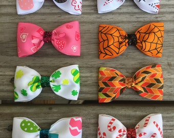 Holiday Baby Bows Set of 8 / Year of Holidays Bow Set / Thanksgiving Bow / Christmas Bow / Baby Holiday Bows