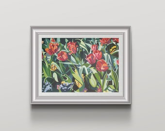 Orange Tulips Art Print colourful contemporary tulip wall art – floral print - Wall Decor