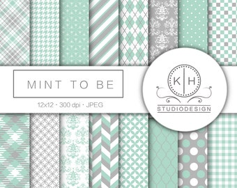 Mint Green Digital Paper, Gray Scrapbooking paper, Mint and Gray Background, Multicolor Digital Paper, Mint Green Scrapbooking Paper