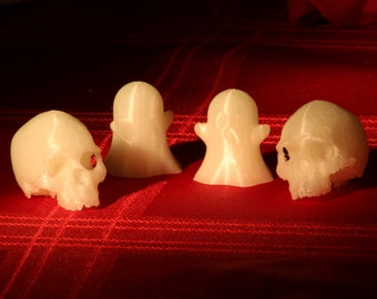 Ghost and Skull. Tiny talking points for your desk. Approximately the size of a 20p piece.