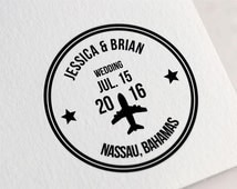 Custom Wedding Stamp, Passport Wedding Stamp, Save The Date Stamp, Personalized Airplane Stamp for Save the Dates & Wedding Invitations Z14